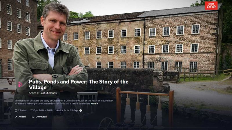 Pubs, ponds and villages, Cromford on the BBC